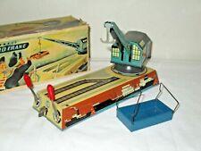 Vintage Biller 1950s Tin Wind Up Dock Yard Crane In Original Box