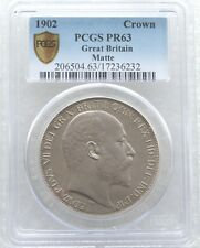 1902 British Edward VII Coronation Silver Matte Proof Crown Coin PCGS PR63