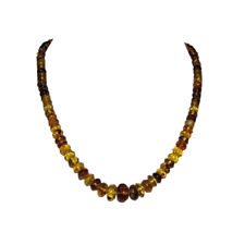 Cylinder Bead Necklace Antique Mexican Chiapas Amber