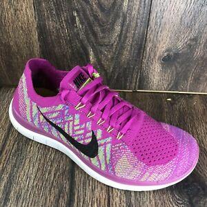 Nike Women Nike Free 4.0 Shoes Size 8 Flyknit Bright Pink Fuschia 717076-500