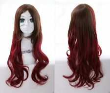 W-21 rouge marron red Brown Mix 70cm Harajuku lolita Boucles cosplay perruque wig