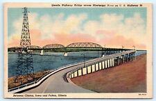Postcard IA Lincoln Highway Bridge Bulton IL and Clinton IA US Route 30