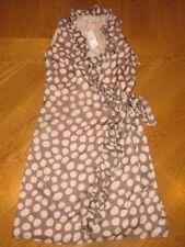 Ann Taylor Loft Taupe/beige Polka Dot Sleeveless Wrap Dress Women 2