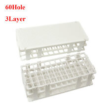 Silver 17mm 60Holes 3Layers Plastic Test Tube Stand Storage Lab Supplies New
