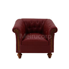 Minifurniture Dollhouse 1/12 Scale High Quality Red Faux Leather Parlor Armchair