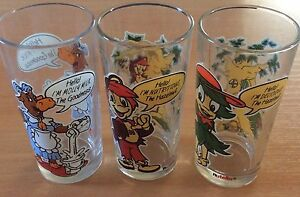 3 Nutella collectable drinking glasses 1993