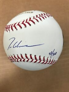 Tom Glavine Signed Baseball 300th Win MLB Mounted Memories Authentication /300