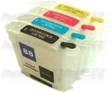 Refillable Ink Cartridges for HP 88XL 88 with Auto Reset Chips - 4pk (BCMY)