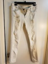 SIWY Hannah Contoured Slim Crop Snowstorm Beige Distressed Ripped size 27 Pants