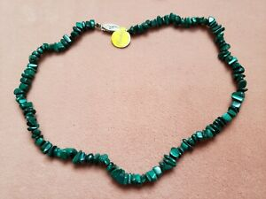 """Hand- Made GENUINE * MALACHITE * NECKLACE 15"""" Long - Made in USA"""
