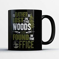 Hunting Coffee Mug - Lost in the Woods - Funny 11 oz Black Ceramic Tea Cup - Cut