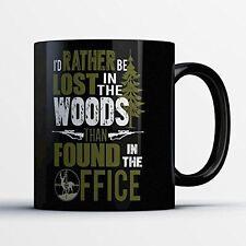 Hunting Coffee Mug - Lost in the Woods - Funny 11 oz Black Ceramic Tea Cup - Cut