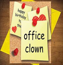 Divertente/maleducato scherzo cartolina Di Compleanno-Ufficio qualche battuta (ufficio Clown)