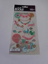 Scrapbooking Crafts Stickers Sticko Love Title Birds Hot Air Balloons Glitter