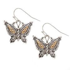 Two Tone Metal Butterfly Fashionable Earrings - Vine Filigree - Fish Hook