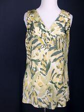 BANANA REPUBLIC Top 6 Green Floral Satin Yellow Pleated Career Work