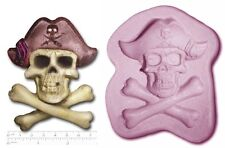 PIRATE SKULL & BONE Jolly Roger Medium Craft Sugarcraft Fimo Soap Silicone Rub