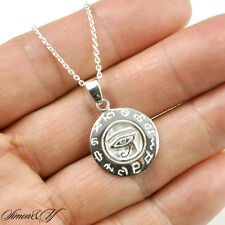 Solid Sterling Silver Round Egypt Eye Of Horus Ra Udjat Pendant Necklace 18""