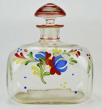 Blown Glass DECANTER Scotch Port Rectangular Bourbon CARAFE Red 1920s LS