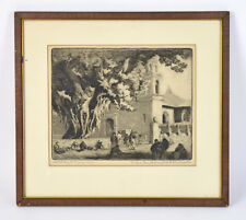 """1920's Ralph Fletcher Seymour """"Market Day at Tamazunchale"""" Mexico Signed Etching"""