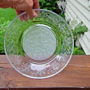 Princess House Fantasia Poinsettia Pasta Bowls #565 Frosted Bottom FOUR (4)
