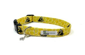 Yellow Bumble Bee and Honeycomb Adjustable Dog Collar