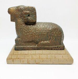 Vintage Cleo Hartwig Sculpture Collectors Bronze Ram Sculpture on Stone Plinth