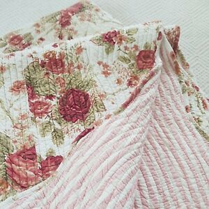 Helena Springfield 100% cotton stitched rose hickory quilt bedspread throw
