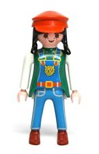 Playmobil Figure Custom Female Zoo Worker w/ Overalls Hat Black Braids 3240
