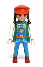Playmobil Figure Custom Female Zoo Worker w/ Overalls Hat Black Braids 3240