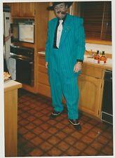 Found PHOTO Man w/ Cigar In Gangster Mobster Suit Costume