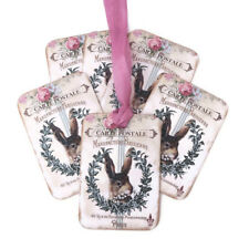 NEW Rabbit French Vintage Gift favour Tags -Paris Tea party -Retro Bunny Tags