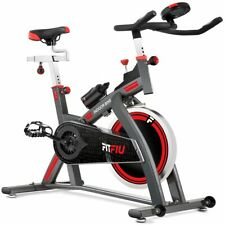 Velo spinning FITFIU réglable roue inertie 24kg frequence cardiaque et ecran LCD