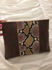 Etro Milano Clutch Bag Purse Snakeskin Paisley Leather Beige Gold Brown Red Blue