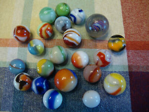 Lot: 22 Assorted Vintage Marbles From Wisconsin Estate; Popeye, Slag, Handmade