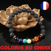 Bracelet Pierre Naturel De Lave Noire 7 Chakra Perle Femme Equilibre Yoga Bijoux