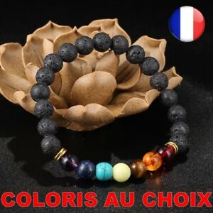 Bracelet Stone Natural Lava Black 7 Chakra Pearl Woman Balance Yoga Jewelry