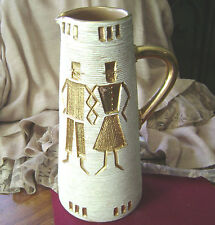 """UNIQUE TAN AND GOLD """"MAN/WOMAN/SWORD/SCARF ITALIAN  POTTERY PITCHER VASE"""