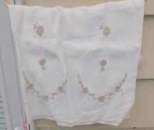 "VINTAGE TABLE CLOTH WHITE  BEIGE EMBROIDERY FLORAL 50 X 62"" RECTANGULAR"