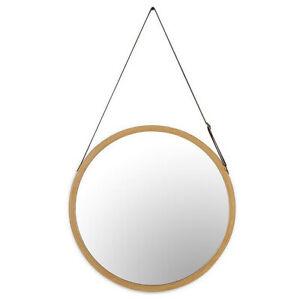 45cm Wood Wall Mirror Bathroom Brown Frame Round Vanity Makeup Large Hang Strap