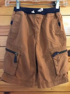 Hanna Andersson Cargo Shorts Boys Brown w/Navy Contrast Drawstring Size 130 8-10