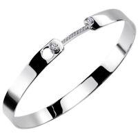 MATERIA Damen Mädchen Gravur Armband Name Armreif 925 Sterling Silber Zirkonia