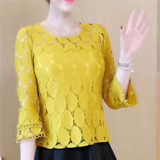 Women Fashion Loose Lace Blouse Top Long Sleeve Blouse Casual Hollow out Shirt 3 XXL Apricot