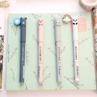4Pcs Cute Animal Series 0.35mm Erasable Gel Pen Rollerball Pen Blue/Black Ink