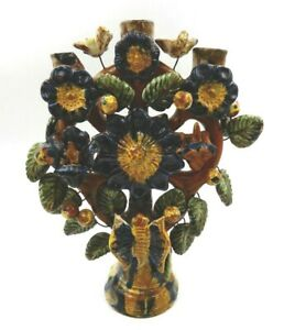 VINTAGE MEXICAN FOLK TREE OF LIFE POTTERY FLOWER & BIRD DESIGN 3 CANDLE HOLDER