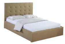 Fawn Upholstered 5ft Kingsize Bed Frame with Button Detail Headboard
