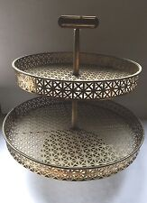 Vintage Metal 2 Tiered Revolving Serving Tray Display Lazy Susan Stand Holder