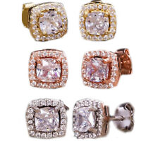 Silver Tone 2.5ct Cubic Zirconia Square Halo Stud Earrings