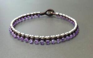 Amethyst Stone Mini Silver Woven Bracelet Anklet, Beaded Bracelet,