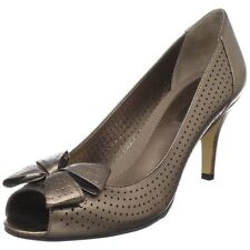 Bandolino Hover Womens Size 8 Bronze gold Peep Toe Leather Pumps Heels Shoes